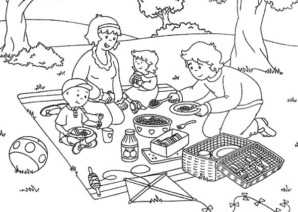 Family Picnic Coloring Pages Sketch Page