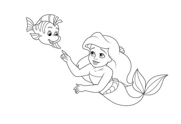 Baby flounder coloring pages sketch coloring page for Baby mermaid coloring pages